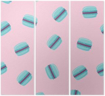 Jednolite wzór z niebieskimi macaroon cookies na różowo. ilustracji wektorowych.