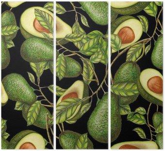 Ręcznie rysowane awokado na ciemnym tle, bez szwu wzór