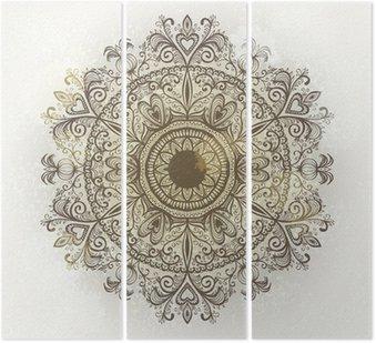 Grunge wyciągnąć rękę okrągły kwiatowy ornament. eps10