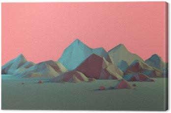 Low-Poly 3D krajobraz górski z Pastele