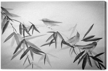 bamboo and three birdies branch