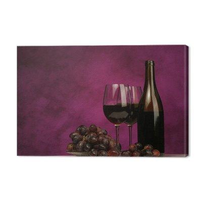 Poziomej butelki wina z okularami i winogron