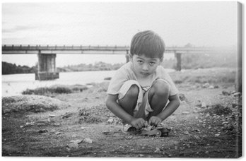 Cute little asian child boy  playing outdoor black and white ton