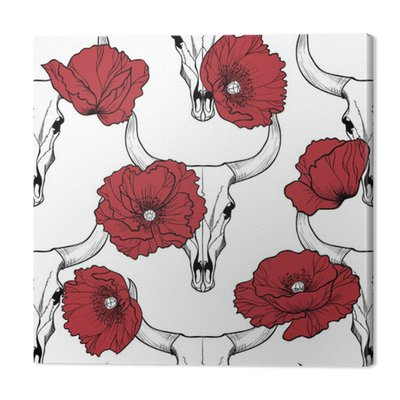 Bull skull and poppy flowers on  a red background vector seamless pattern
