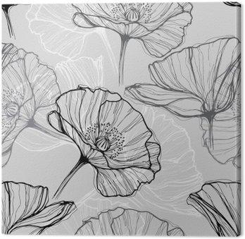 Monochromatyczny szwu z makami. Ręcznie rysowane tła kwiatu