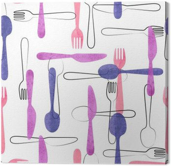 Watercolor cutlery seamless pattern in pink and purple colors. Vector background with spoons, forks and knives.
