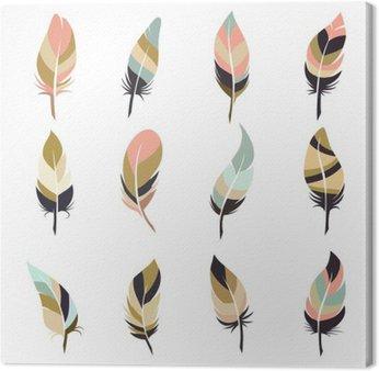 Boho style feather set isolated on white background. Vector illustration