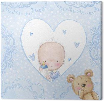 Baby shower powitanie card.Baby chłopiec z misiem