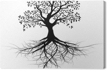 vecteur série, arbre avec racines vectoriel noir