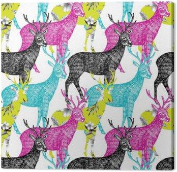 deer hand drawn seamless background