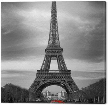 Wieża Eiffla i czerwony-paris samochód
