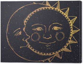 Ręcznie rysowane słońce z księżycem