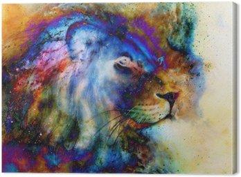 Lew na pięknej tęczy kolorowe tło z odrobiną poczucia przestrzeni, profilu lew portret.