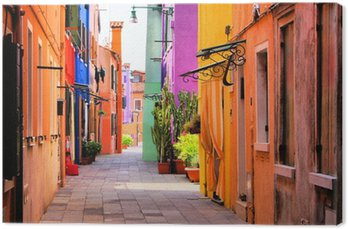 Colorful street in Burano, near Venice, Italy