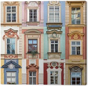 Kolaż z kolorowych okien Pradze, Republika Czeska