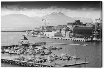 Northern Tromso city port black and white background