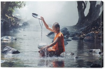 monk play water
