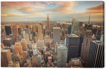 Sunset view of New York City looking over midtown Manhattan