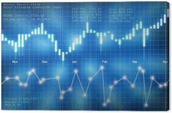 Giełda wykres świecowy na niebieskim tle
