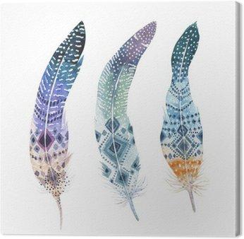 Ręcznie rysowane akwarelowe obrazy żywe zestaw piór. styl Boho