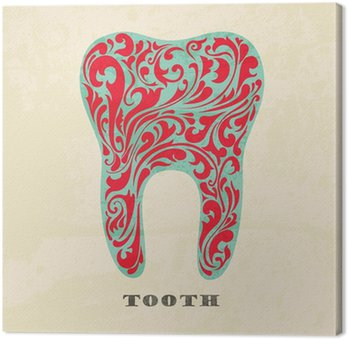 Streszczenie kwiatów zęby. Retro plakat