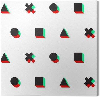 Trójkąt krzyż koło placu stereo 3D cyfrowy web pattern