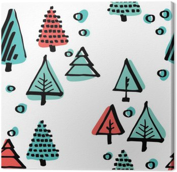 Hand-drawn pattern, Scandinavian pattern done in black ink minimalist ornament circles, trees, stars