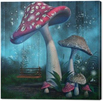 Magiczny las z wysokimi grzybami i huśtawką