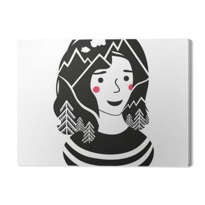 Ilustracji wektorowych z dziewczyną, sosnowy las i góry w jej włosy.