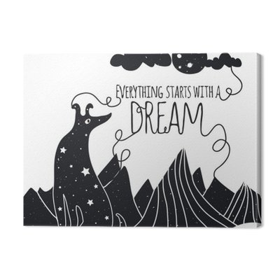 Cute romantic vector illustration with dog looking at the moon. Everything starts with a dream. Stars, mountains and clouds.