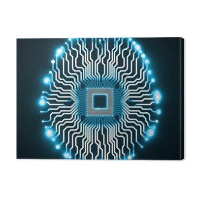 Neon mózgu. Procesor. Płytka drukowana. ilustracji wektorowych. ePS 10