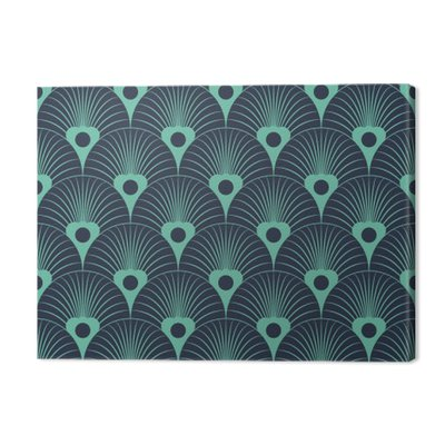 Seamless neon blue art deco floral overlaying pattern vector