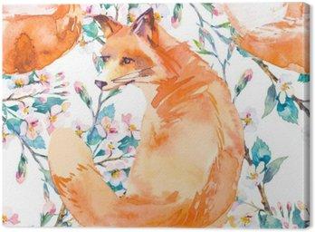 Wzór w naturalnym środowisku. Fox i gałęzi kwitnących. ,