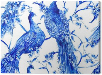 Blue watercolor flower vintage seamless pattern with peacocks