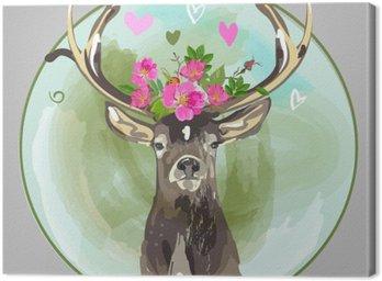 Kolorowe głowa jelenia z kwiatami
