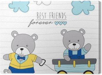 playing teddy bears vector illustration