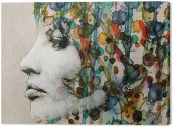Watercolor female profile