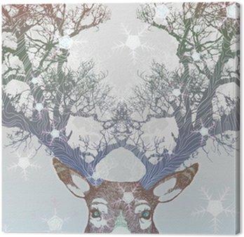 Frozen tree horn deer