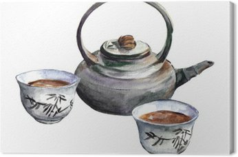 Traditional china tea set. Watercolor