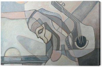 Malarstwo abstrakcyjne z kobietą i Gitary