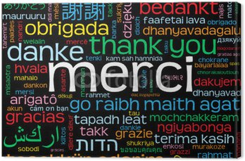 "Carte ""MERCI"" (komunikat mots amour oui dziękuję danke gracias)"