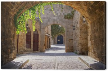 Medieval arched street in the old town of Rhodes, Greece