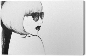 Kobieta w okularach. Akwarele ilustracji
