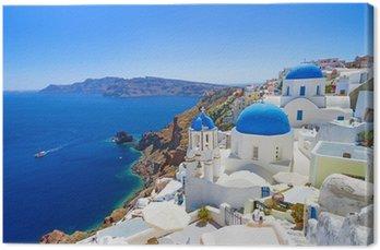 Biała architektura Oia wsi na wyspie Santorini, Grecja
