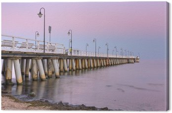 Baltic pier in Gdynia Orlowo at sunset, Poland