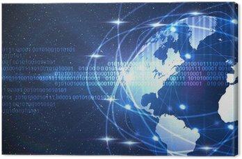 Cyfrowego świata na ciemnym niebieskim tle kosmicznej