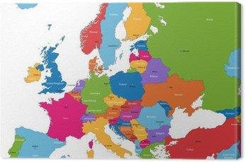 Mapa europy z kolorowych krajów i stolic