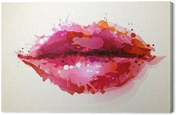 Piękne womans usta formowane przez abstrakcyjne blot