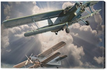 Retro styl obraz z biplanes. Temat transportu.