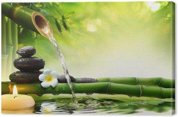 spa stones in garden with flow water